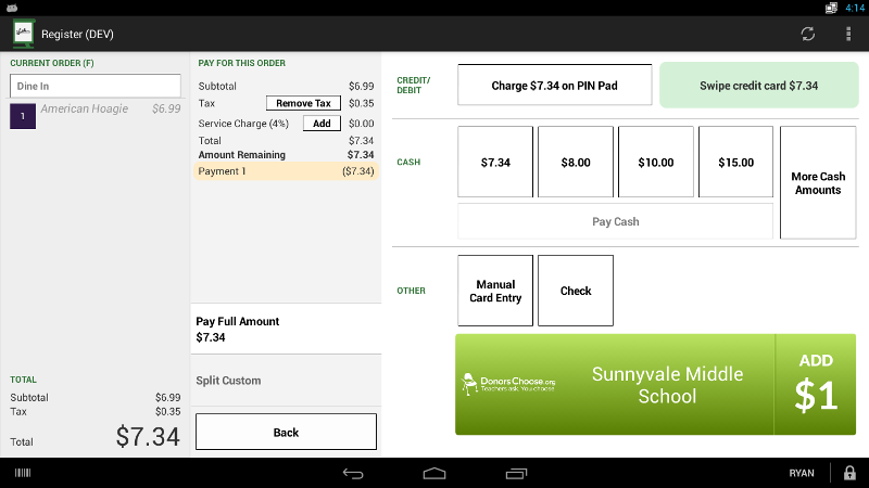 Charity Checkout enables merchants to accept $1 and 'round-up' and percentage of sales donations from their customers.