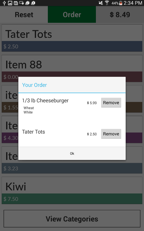 Order Kiosk Screenshot